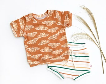 Butterflies Kids Outfit / Burnt Orange Butterfly Short Sleeve Baby Shirt / Unisex Baby Clothes / Plaid Baby Shorts / Stripe Baby Shorts