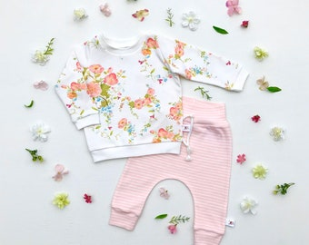 Floral Easter Baby Outfit, Blush Floral Shirt and Pants Set, Pink Stripe Kids Pants