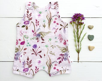 Organic Baby Romper, Purple Floral Baby Romper, New Baby Gift, Baby Shorts Romper, Wildflowers Summer Romper, Kids Shorts Romper