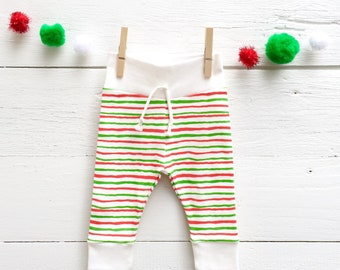 Organic Christmas Baby Leggings, Red and Green Stripe Baby Pants, Striped Baby Leggings, Christmas Baby Pants, Baby Gender Neutral