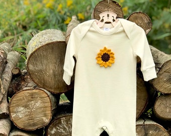 Sunflower Organic Baby Romper, Newborn Baby Romper, Floral Romper, New Baby Gift, Long Sleeve