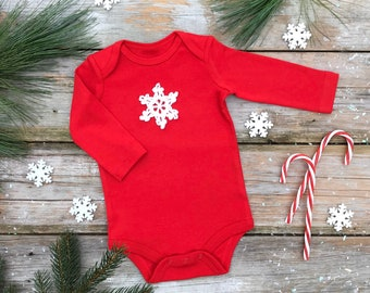 Snowflake Bodysuit / Unisex Organic Bodysuit / Red Winter Kids Bodysuit / Christmas Long Sleeve Bodysuit / Short Sleeve Bodysuit