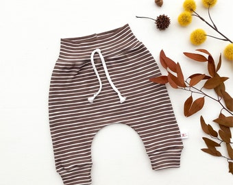Chocolate Stripe Baby Pants, Fall Striped Kids Pants, Gender Neutral Baby Leggings, Unisex Kids