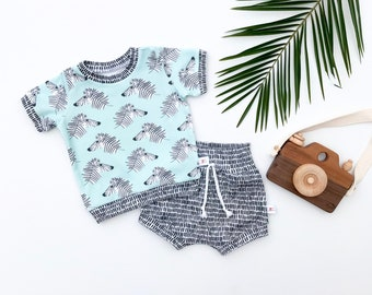 Zebra Baby Outfit, Safari Kids Outfit, Unisex Baby Shirt and Shorts Set, Zoo Baby Gift Set