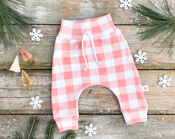 Pink Buffalo Plaid Baby Pants / Christmas Kids Pants / Baby Girl Leggings / Toddler Pants