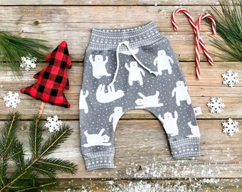 Polar Bear Baby Pants / Christmas Kids Pants / Unisex Kids / Grey Baby Leggings / Toddler Pants
