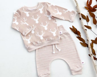 Beige Deer Woodland Baby Sweatshirt Set / Gender Neutral Baby Outfit / Winter Kids Pullover / Toddler Shirt / Stripe Baby Pants