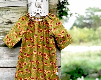 Fall Floral Dress, Olive Green Girls Cotton Dress, Baby Dress, Peasant Dress