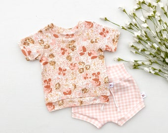 Blush Pink Floral Kids Outfit, Pale Pink Gingham Baby Shorts, Short Sleeve Baby Girl Shirt