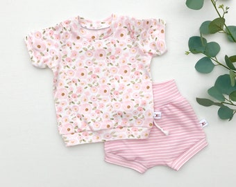 Pink Floral Baby Outfit, Valentines Day Baby Outfit, Kids Shirt and Stripe Shorts Set, Baby Girl Clothes
