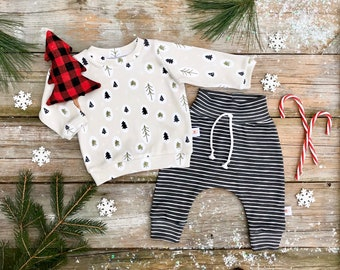 Woodland Trees Organic Baby Pullover / Winter Kids Sweatshirt / Unisex kids / Toddler Shirt / Baby Pants / Stripe Kids Pants