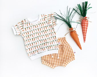 Carrots Baby Outfit, Vegetable Kids Outfit, Unisex Baby Shirt and Gingham Shorts Set, Baby Gift Set