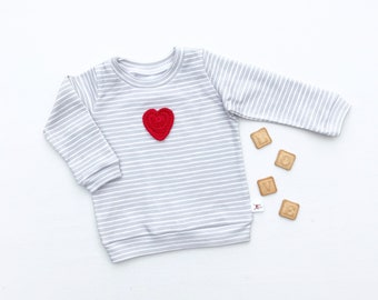 Red Heart Baby Shirt / Valentines Day Kids Shirt / Toddler Long Sleeve Stripe Shirt / Unisex Kids