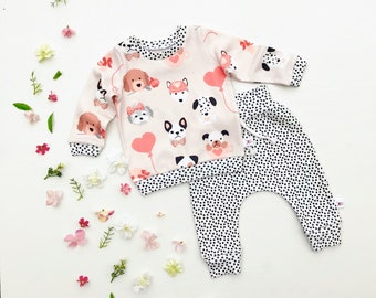 Puppy Baby Outfit, Valentines Day Kids Outfit, Dalmatian Baby Shirt and Pants Set, Dog Shirt