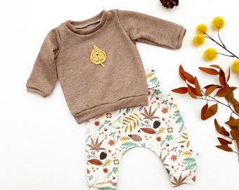Fall Leaves Baby Outfit, Gender Neutral Kids, Long Sleeve Baby Shirt and Pants, Unisex Kids