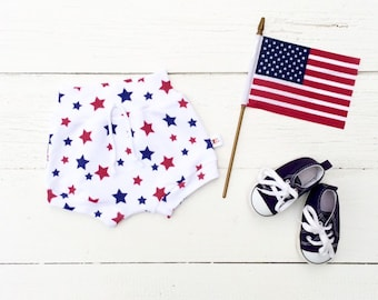 4th of July Kids Shorts, Red White and Blue Stars Kids Shorts, Baby Shorts, Fourth of July Patriotic, Unisex