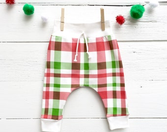 Red Plaid Kids Pants, Scandinavian Kids Leggings, Organic Baby Leggings, Christmas Kids Pants, Unisex Kids Pants, Winter Kids Pants
