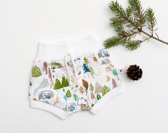 Campers Kids Shorts, Organic Baby Shorts, Camping Kids Shorts, Shorties, Spring Kids Shorts, Summer Baby Shorts