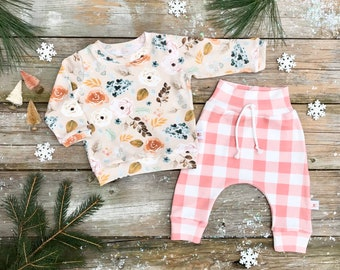 Floral Baby Pullover / Winter Kids Sweatshirt / Floral Top / Toddler Shirt / Baby Pants / Kids Pants