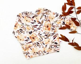 Autumn Floral Baby Pullover / Fall Kids Sweatshirt / Girls Long Sleeve Shirt