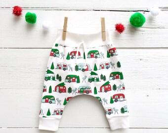 Christmas Campers Kids Pants, Winter Kids Leggings, Organic Baby Harem Pants, Camping Baby Pants, Campers Baby Leggings, Christmas Kids