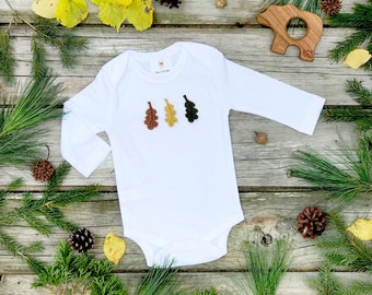 Fall Leaves Bodysuit, Unisex Baby Clothes, Leaf Bodysuit, Natural Long Sleeve Bodysuit, Woodland Wonders