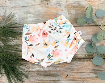 Pink Floral Baby Bummies, Organic Baby Shorts