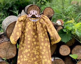 Fall Vintage Baby Dress, Girls Cotton Dress, Fall Baby Dress with Lace, Mustard and Brown Peasant Dress