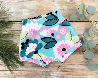 Teal and Pink Floral Baby Shorts