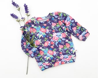 Purple Floral Baby Shirt, Spring Floral Kids Shirt, Baby Girl Clothes, Long Sleeve Baby Shirt