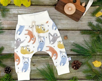 Sloth Kids Pants, Sloth Baby Leggings, Organic Baby Pants, Burnt Orange Kids Pants, Kids Harem Pants