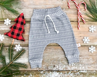Grey Stripe Fair Isle Baby Pants / Christmas Kids Pants / Unisex Kids / Gray Baby Leggings / Toddler Pants