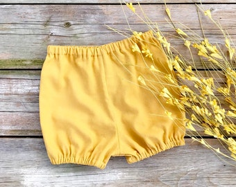 Autumn Linen Mustard Baby Bloomers, Fall Kids Bloomers, Yellow Bloomers, Diaper Cover