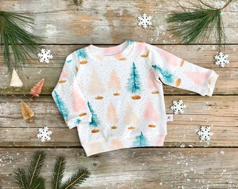 Christmas Trees Baby Pullover / Winter Kids Sweatshirt / Girls Christmas Top / Holiday Toddler Long Sleeve Shirt