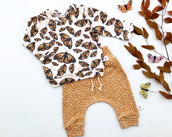 Fall Butterflies Baby Outfit, Gender Neutral Kids, Butterfly Long Sleeve Baby Shirt, Polka Dot Baby Pants, Unisex Kids