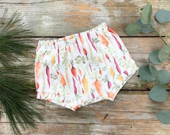 Vegetable Kids Shorts, Organic Baby Shorts, Carrots Baby Shorts
