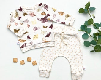 Butterflies Kids Outfit / Butterfly Long Sleeve Baby Shirt / Girl Clothes / Toddler Shirt / Baby Pants