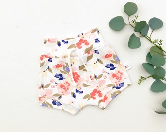 Pink Floral Baby Shorts, Summer Kids Shorts, Baby Girl Clothes