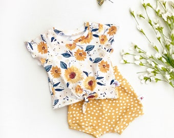 Sunflower Tie Front Girls Top, Ruffle Sleeve Baby Shirt / Yellow Polka Dot Baby Shorts / Floral Short Sleeve Knot Front Baby Shirt