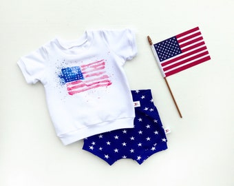 July 4th Kids Outfit, Navy Blue Stars Shorts, American Flag Baby Shirt, Fourth of July Unisex Kids Outfit, Independence Day Baby