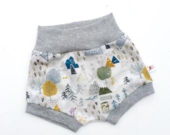 Autumn Woodland Kids Shorts, Organic Baby Shorts, Mountains Kids Shorts, Shorties, Summer Baby Shorts