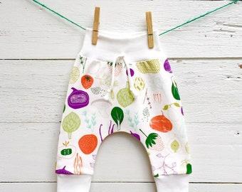 Unisex Leggings, Vegetable Baby Harem Pants, Organic Baby Pants, Veggie Baby Leggings, Fall Baby Pants, Kids Leggings, Unisex Baby Clothes