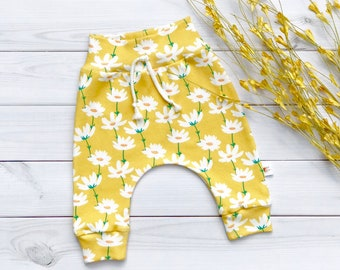 Floral Kids Pants, Organic Baby Pants, Yellow Floral Baby Leggings, Fall Kids Pants, Baby Girl Clothes, Gift Under 30