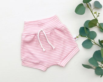 Pink Stripe Baby Shorts, Valentines Day Kids Shorts, Easter Baby Shorts, Baby Girl Clothes