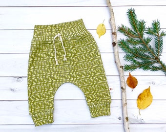 Olive Green Mudcloth Baby Pants, Green Stripe Kids Pants, Unisex Kids Pants, Fall Kids Pants
