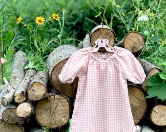 Pink Gingham Baby Dress, Girls Cotton Dress, Plaid Baby Dress, Fall Baby Dress, Peasant Dress, Toddler Dress