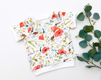 Floral Kids Shirt / Red Poppies Short Sleeve Baby Shirt / Girl Clothes / Toddler Shirt / Baby Top