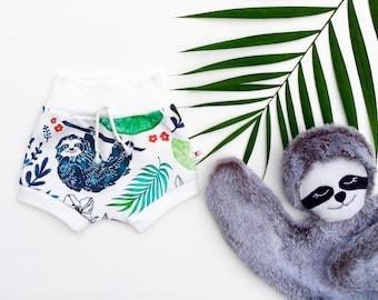 Sloth Kids Shorts, Organic Baby Shorts, Unisex Kids Shorts, Sloth Baby Shorties, Spring Kids Shorts, Summer Baby Shorts, Tropical Shorts