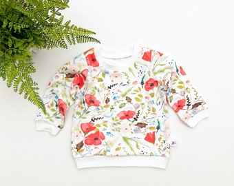 Floral Baby Pullover / Spring Kids Sweatshirt / Poppies Floral Top / Toddler Shirt / Baby a Girl Clothes