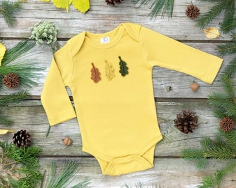 Mustard Organic Bodysuit, Fall Bodysuit, Unisex Baby Clothes, Leaf Bodysuit, Long Sleeve Bodysuit
